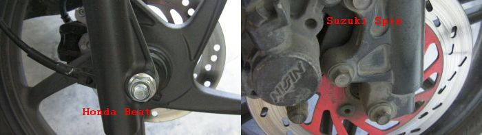 Perbedaan poros roda Honda Beat dengan Suzuki Spin