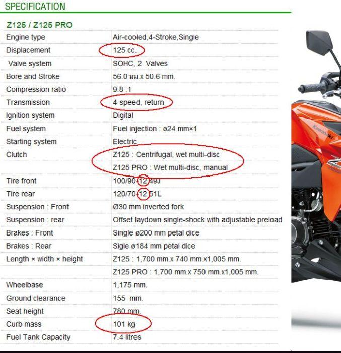 Spesifikasi Kawasaki Z125 thailand