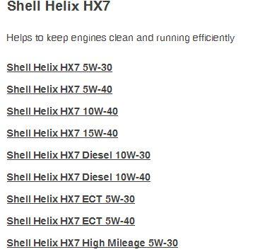 pilihan shell helix hx7