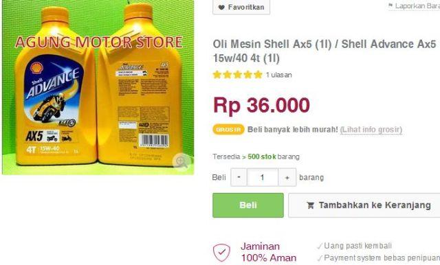 harga oli shell ax-5 36  ribu