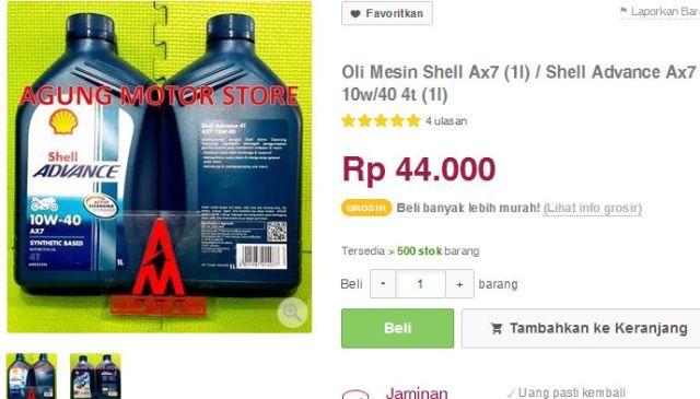 harga oli shell ax-7 44  ribu