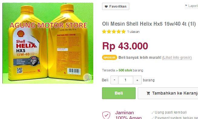 harga oli shell helix hx-5 43  ribu