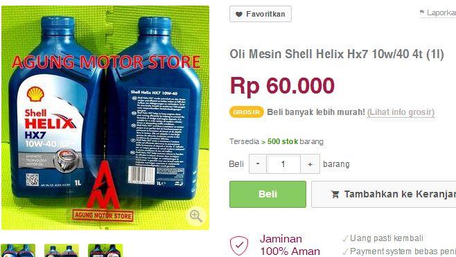 harga oli shell helix hx-7 60  ribu
