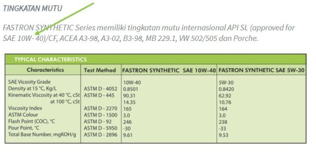 oli pertamina synthetic cuma 10W40 yang approved API SL