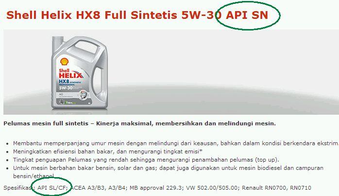 shell helix HX-8 API SN ataukah SL