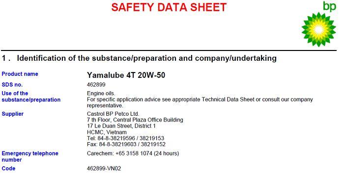 Yamalube 20W50 datasheet buatan castrol