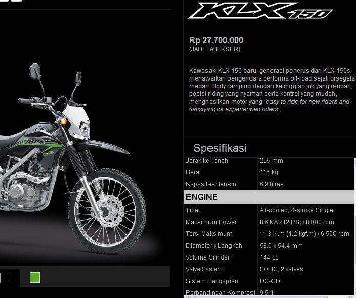 spesifikasi-klx-150