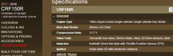 spesifikasi-mesin-honda-crf150r